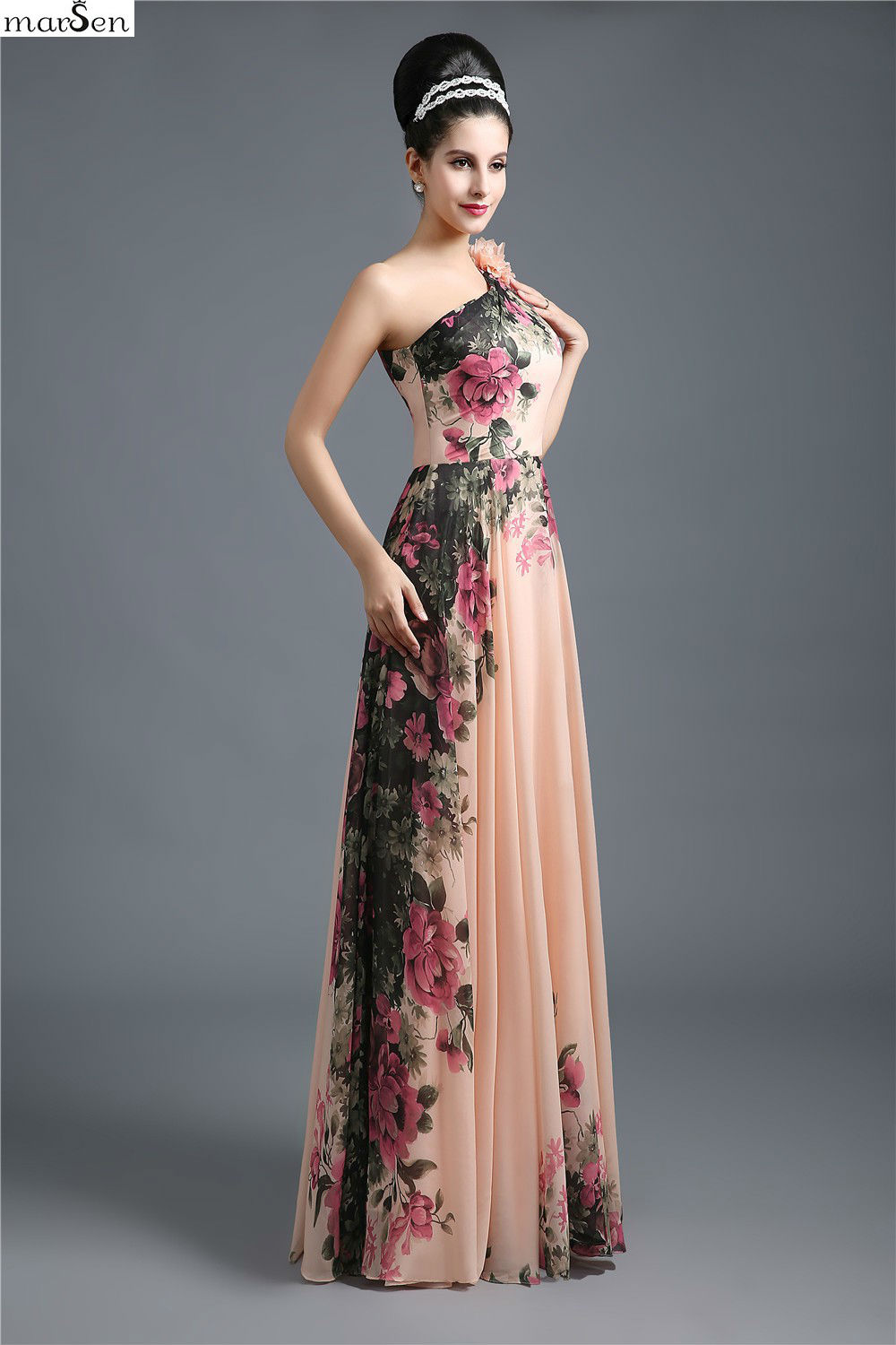 2016 women elegant floral pattern empire waist one shoulder big 2016 women elegant floral pattern empire waist one shoulder big swing evening dress unique floor length lace up mulit prom gown in evening dresses from ombrellifo Image collections