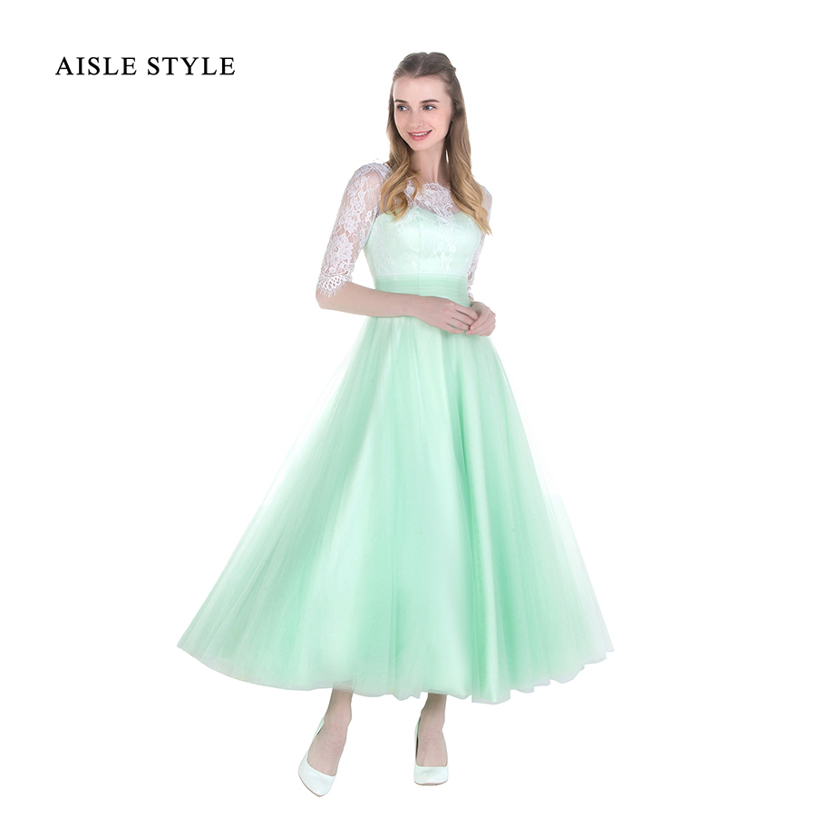 Online get cheap green bridesmaids dresses tea length aliexpress aisle style 2017 new tea length bridesmaid dresses white lace sage green tulle short vintage bridesmaid ombrellifo Choice Image