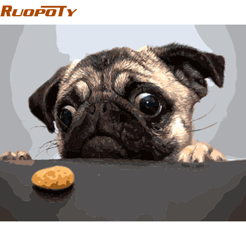 RUOPOTY diy frame Unframe Dog And Cake DIY Painting By Numbers Modern Wall Art Picture Handpainted Oil Painting Unique Gift Home