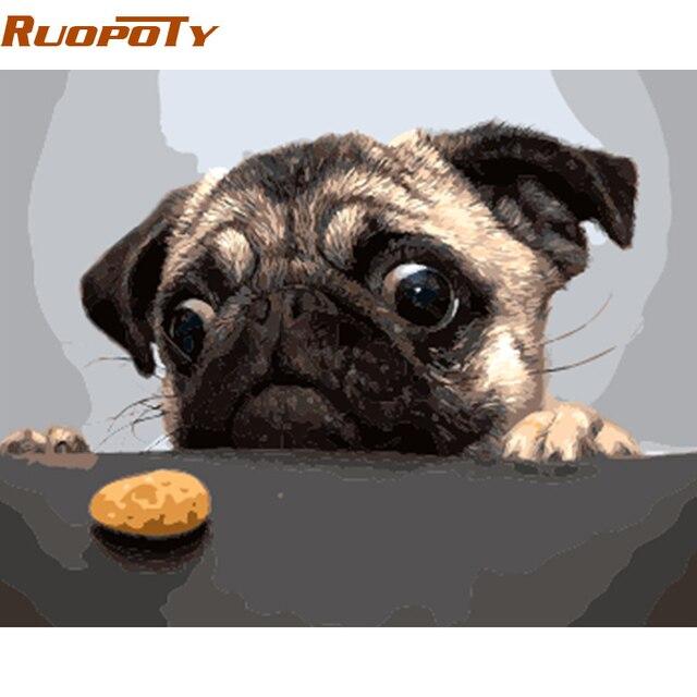 מסגרת diy RUOPOTY Unframe כלב ועוגה ציור DIY על ידי מספרים מודרני אמנות קיר ציור שמן הצבוע תמונת מתנה ייחודית בית