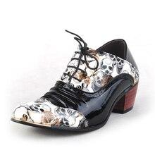 Череп Печатные Мужчины Платье Обувь Острым Носом Кожа Oxfords Обувь На Высоких Каблуках Бизнес Обувь Мужской Акцентом Обувь Zapatillas XK033007