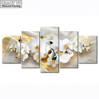 5PCS Full 5D Diy Daimond Painting Cross Stitch Flowers Multi Picture Diamond Painting Rhinestones Paintings Embroidery