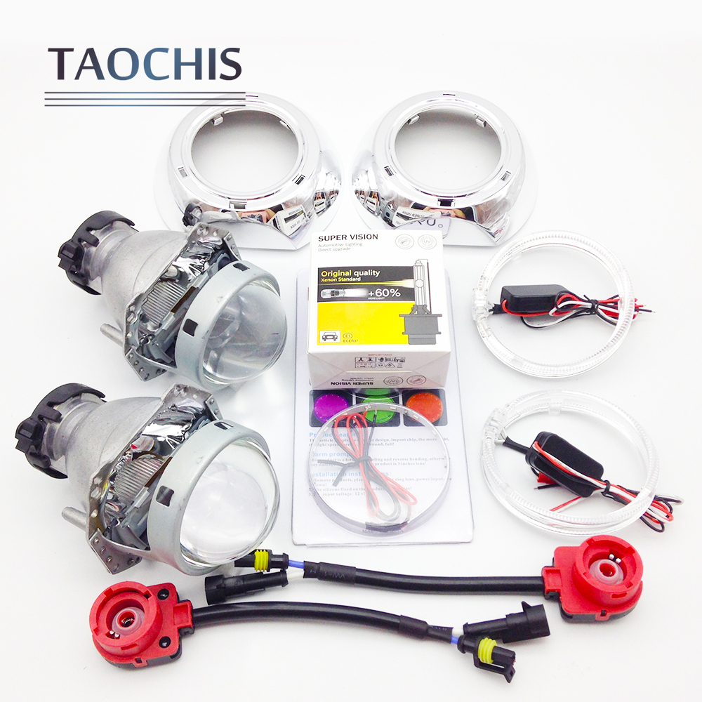 TAOCHIS 3.0 inch Bi-xenon Hella Projector Lens HID D2S Shroud Devil Eyes Head Lamp Upgrade Super Lens Demon eye Headlight lens hot selling 360 degree cob led devil eyes headlights demon eye for 3 0 inch car headlight projector lens ring car styling
