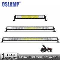 Oslamp Tri Row 22 42 50 Straight LED Light Bar Side Bracket Off road 12 20 23 LED Work Light with Slide Mounts Combo Beam