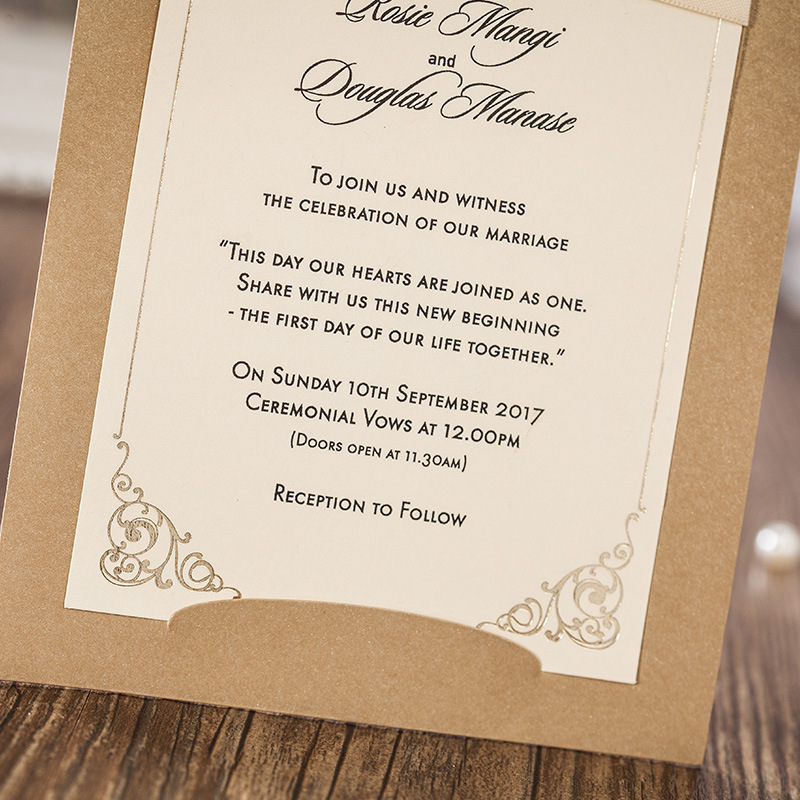 50 pieceslot Single Page Gold Wedding Invitation Cards with beige