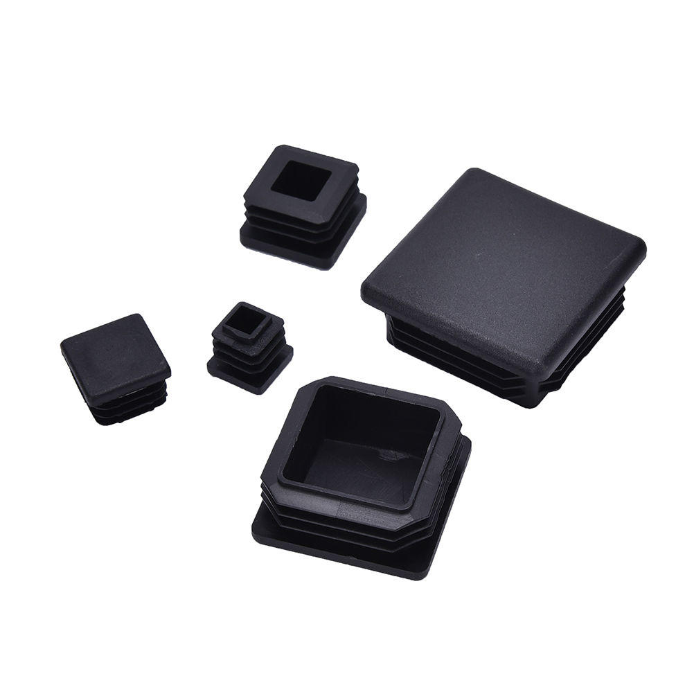 10Pcs Plastic Blanking End Caps Square Inserts For Tube Pipe Box Section Black Color