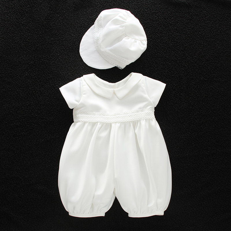 cf64416a0 Baby Boy Christening Baptism Romper Suits White Satin Clothes with ...