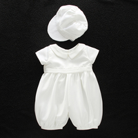 Baby Boy Christening Romper Baptism Suits with Hat Bonnet White Satin Newborn Baby Special Occasion Wear A015 Children Clothes