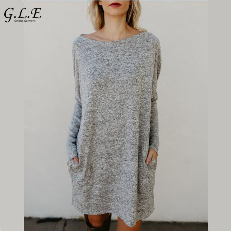 Geleier 2018 long sleeve tunic winter dress Casual knitted dress Loose women dress plus size Solid color round neck plain loose long sleeve plus size dress
