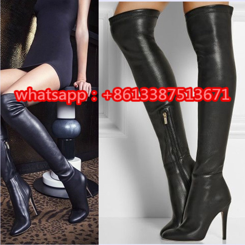 Sexy Black Turner Stretch Leather Thigh High Women Boots Pointed Toe Side Zipper Stiletto High Heel Fall Slim Boots Shoes Woman beige black grey stretch suede thigh high boots stiletto high heels 2017 new fall celeb women shoes pointed toe women boots