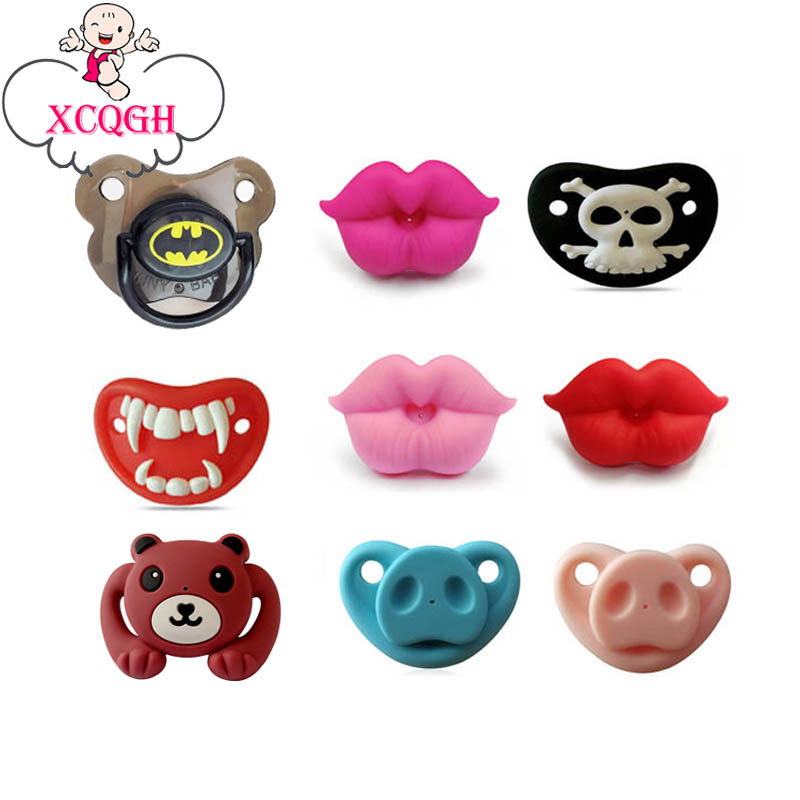 XCQGH Silicone Funny Nipple Dummy Pacifier Baby Soother Joke Prank Toddler Pacy Orthodontic Nipples Teether Baby Pacifier Care baby pacifier soother silicone dummy baby biter teether soother nipples t026