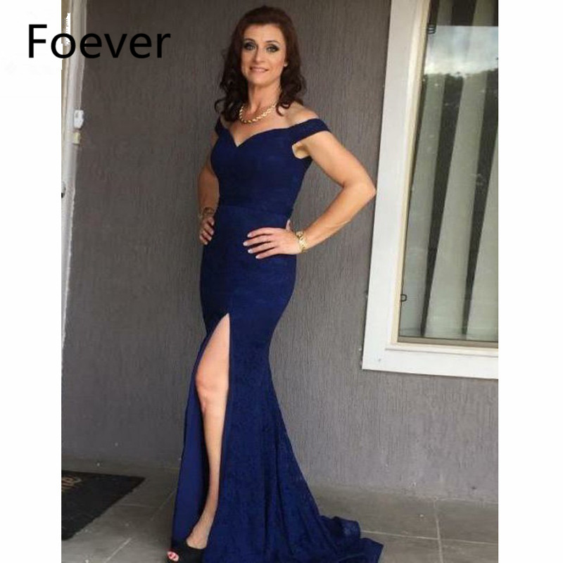 2019 Mermaid Off Shoulder Evening Dresses Long Elastic Satin Zipper Back Short Sleeve Prom Gown Dark Blue Formal Evening Dress