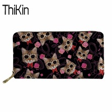 THIKIN Cute Purses&Wallets Women Purse Long Style Zipper 3D Cat Wallet for Girls Travel Organizer Wallets Ladies Money Bag Purse