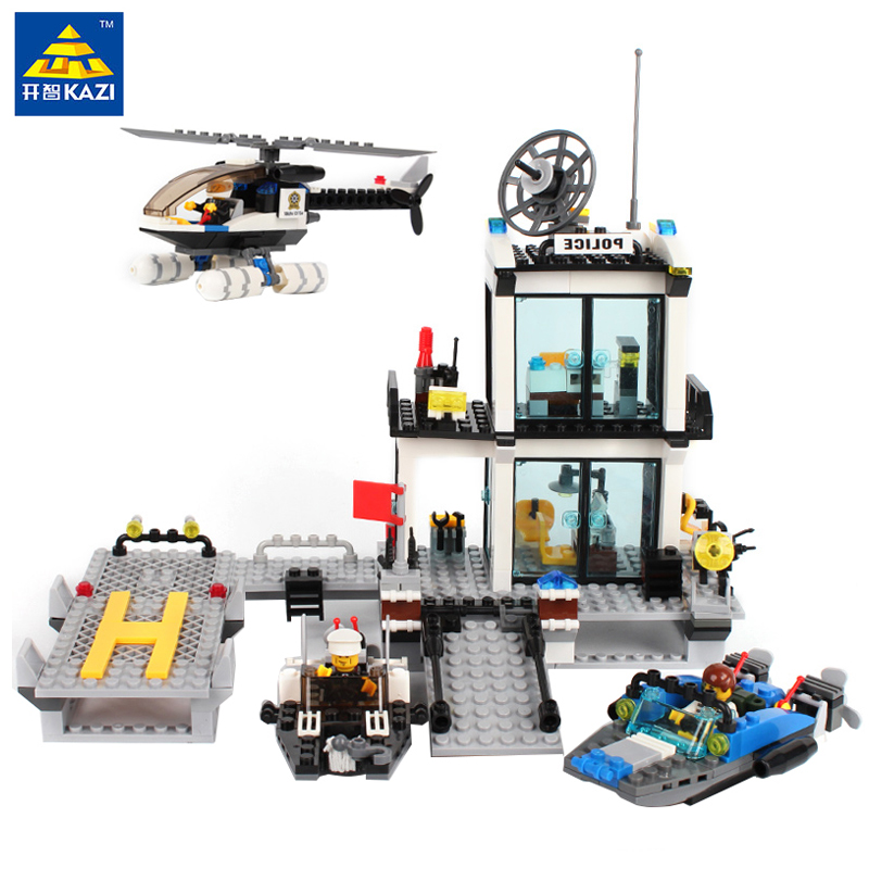 KAZI 536pcs Police Station Building Blocks Helicopter Boat Model Figures Bricks Set Compatible Legoe City Toy Kids Birthday Gift kazi fire department station fire truck helicopter building blocks toy bricks model brinquedos toys for kids 6 ages 774pcs 8051