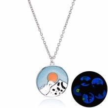 Fashion Luminous Glow In Dark Pendant Chian Necklace Fluorescent Moon Cloud Bird Choker Necklace Special Jewelry