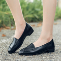 New Female Women's Flats Woman Soild Polyurethane UP Soft Comfortable Round Toe Loafers Lady Mother Plain Slip-On Casual TBA13