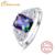 3ct Rainbow Topaz Mujeres Anillos Genuino 925 Plata Esterlina de La Manera Anillos femeninos Diseños Tamaños 6 7 8 9 Emerald Cut joyería