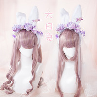LOLITA Headband Hair Accessories Rabbit Ear KC Light Purple Bow Hair Clip with Veil Manual DIY
