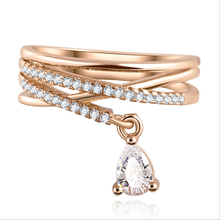 Anel Feminino Multilayer Cross Wedding Crystal Water Drop Ring Anillos Mujer Fine Jewelry Zircon Rings wedding For Women