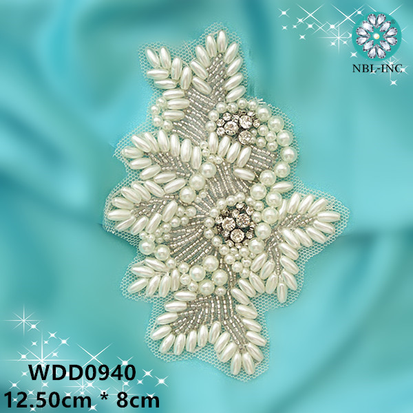 ( 50PCS ) Wholesale hand beaded pearl rhinestone applique patch iron on for  wedding dresses WDD0940 614e3a93a378