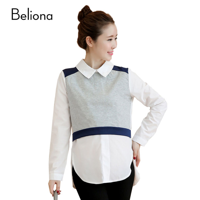 9ae783d46fc6c False Two Pieces Maternity Blouses Long Sleeve Pregnancy Tops Spring Shirt  for Pregnant Women Turn down Collar Maternity Clothes-in Blouses & Shirts  ...