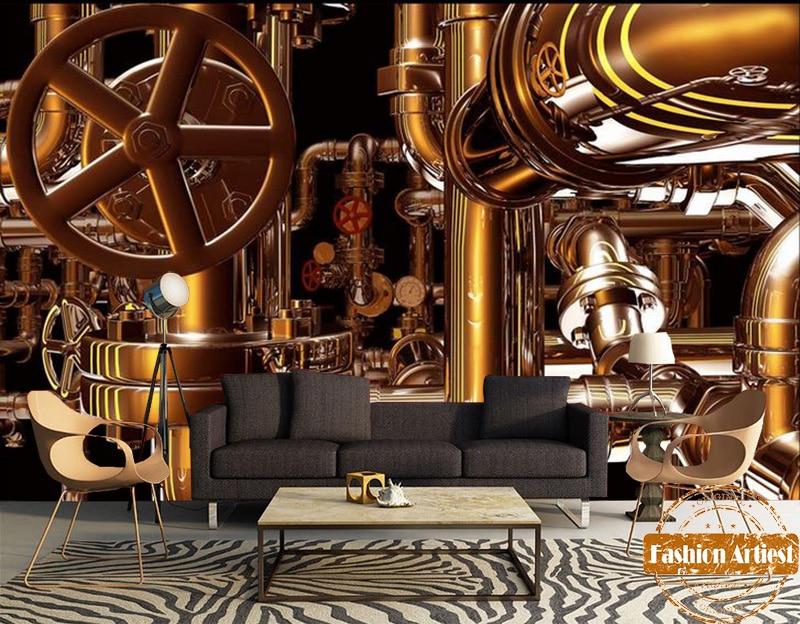 Custom 3d vintage running gear wallpaper mural golden metal mechanism tube wall tv sofa bedroom living room cafe bar restaurant 自宅 ワイン セラー