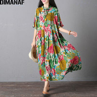 DIMANAF Women Dress Plus Size Summer Floral Print Linen Colorful Female Loose Casual Vintage Chinese Style