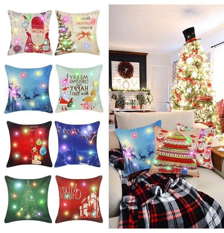 FENGRISE 45x45cm Pillow Case Christmas Decorations For Home Santa Clause Christmas Deer Cotton Linen Cover Cushion Home Decor 15