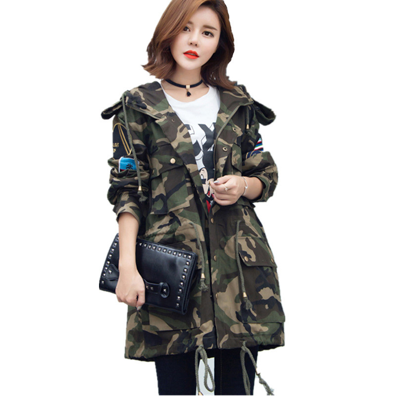 2018 Spring Autumn New Women Korean Hooded Windbreaker Jackets Plus Size Loose BF Wind Military  Camouflage Coat Female C205 Платье