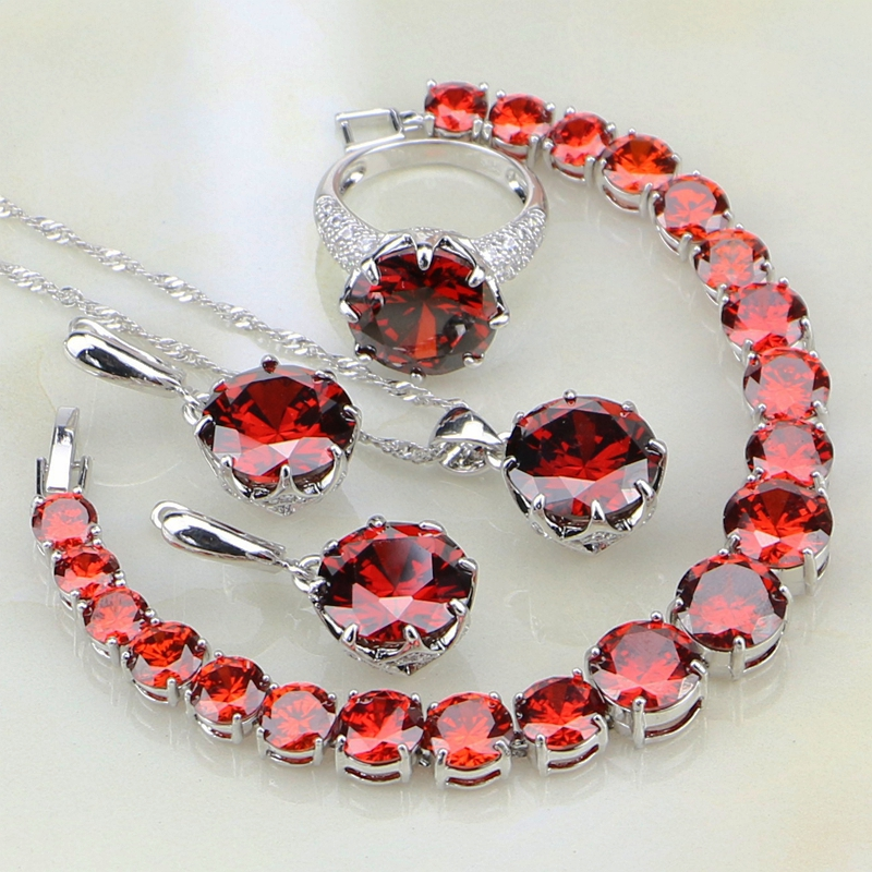925 Silver Jewelry Sets Red Cubic Zirconia White