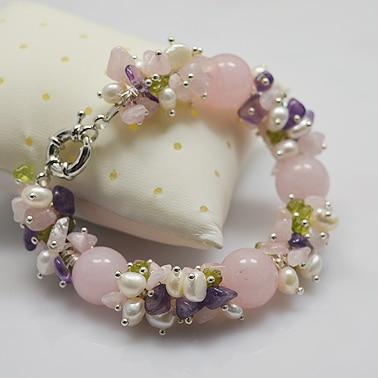 Камень ожерелье браслет, розовый оливин жемчуг смешивается болтаются, ручной работы идеальный драгоценный камень ювелирные изделия