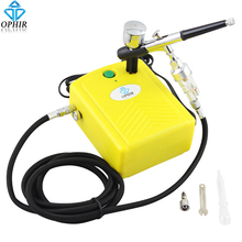 цена на OPHIR 0.3mm Dual Action Airbrush Kit with Mini Air Compressor Spray for Model Hobby Cake Decorating Nail Art #AC034+AC004+AC011
