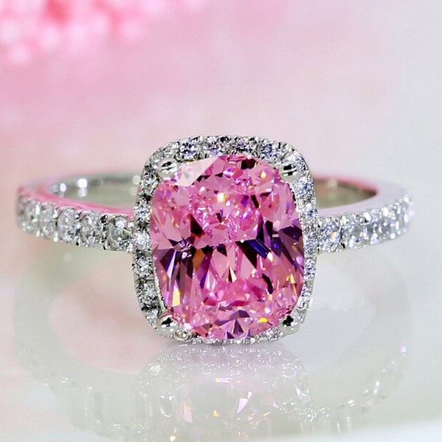 choucong Wieck Engagement Band 3ct Pink AAA CZ simulated stones 925 Sterling sil