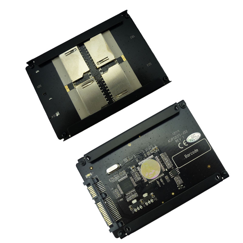 4 SD RAID to SATA Adaptor SATA 2.5 HDD bracket with RAID Quad SD SDHC SDXC to SATA 22pin converter Free Shipping 2pcs free shipping new 4 micro sd tf card to 22pin sata adapter card 2 5 hdd enclosure with raid 0 multi tf cards to sata