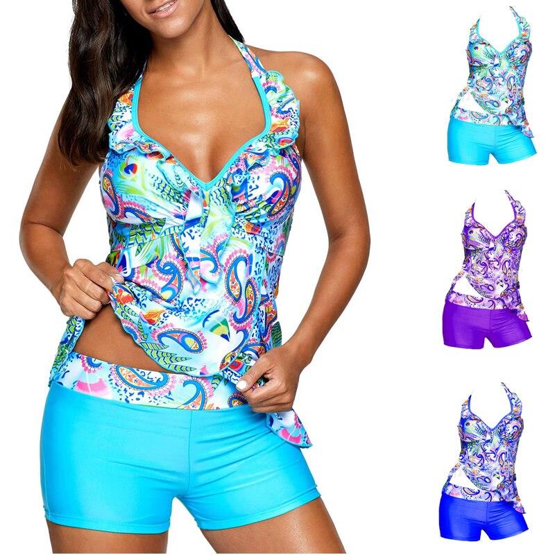 Nouvelles Femmes de Grande Taille Maillot de Bain Imprimé Bleu Dos Ouvert Rembourré Tankini Ensemble Grand Biquini Sexy Beachwear Plus La Taille XL à 5XL Maillots De Bain