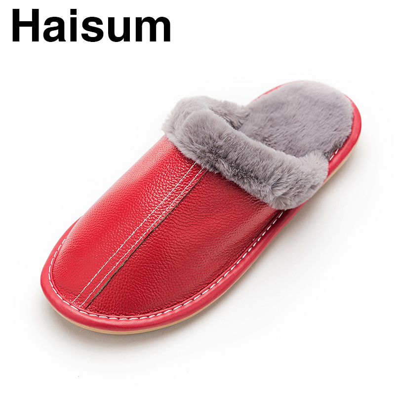 Ladies Slippers Winter Leather Thick Plush Home Interior Non-slip Hot Women Slippers 2018 New Hot Maylooks kh003 plush home slippers women winter indoor shoes couple slippers men waterproof home interior non slip warmth month pu leather