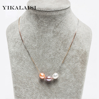 YIKALAISI 2017 Pearl Jewelry Natural Freshwater Pearl Multicolour Pearl Necklace Pendant 925 Sterling Silver Jewelry For Women
