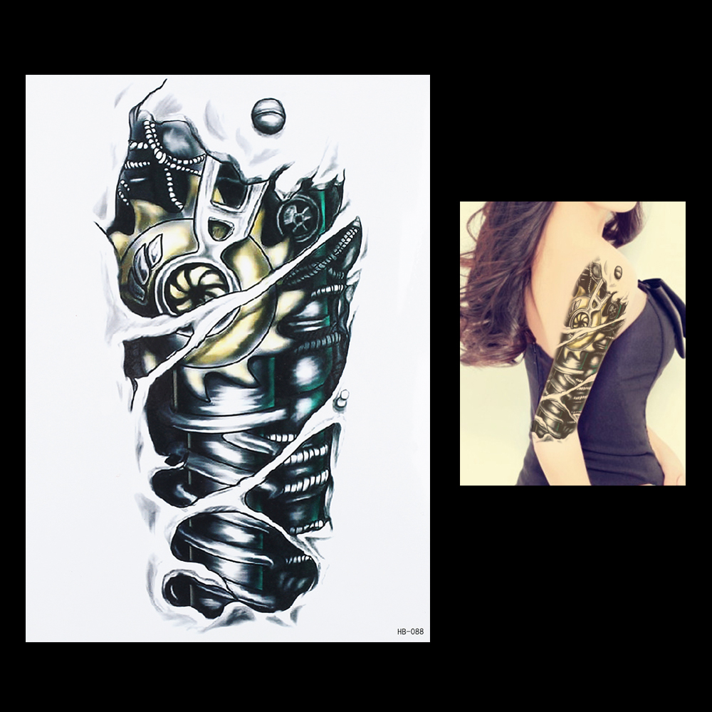 Hot 2019 1pc 3D Tattoo Machine Gear Robot Arm Leg Decal Waterproof Tattoo HB088 Sexy Women Men Body Art Temporary Tattoo Sticker
