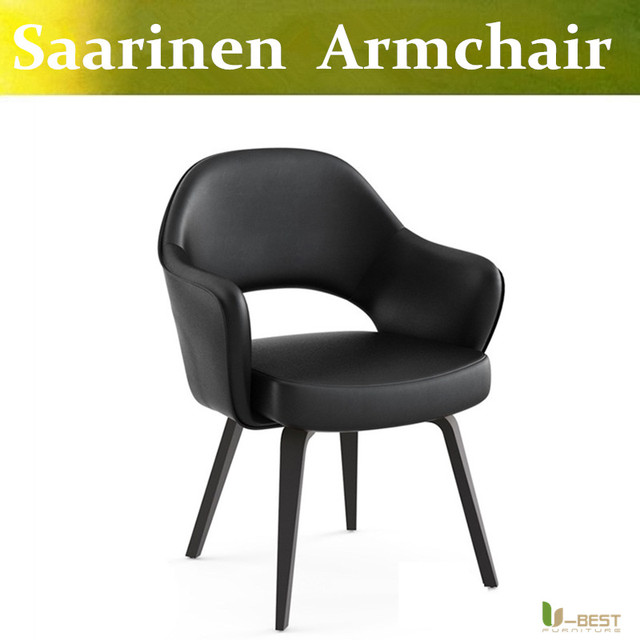 Free shipping U-BEST Classic furniture armrest bent wood legs replica eero saarinen executive arm chair