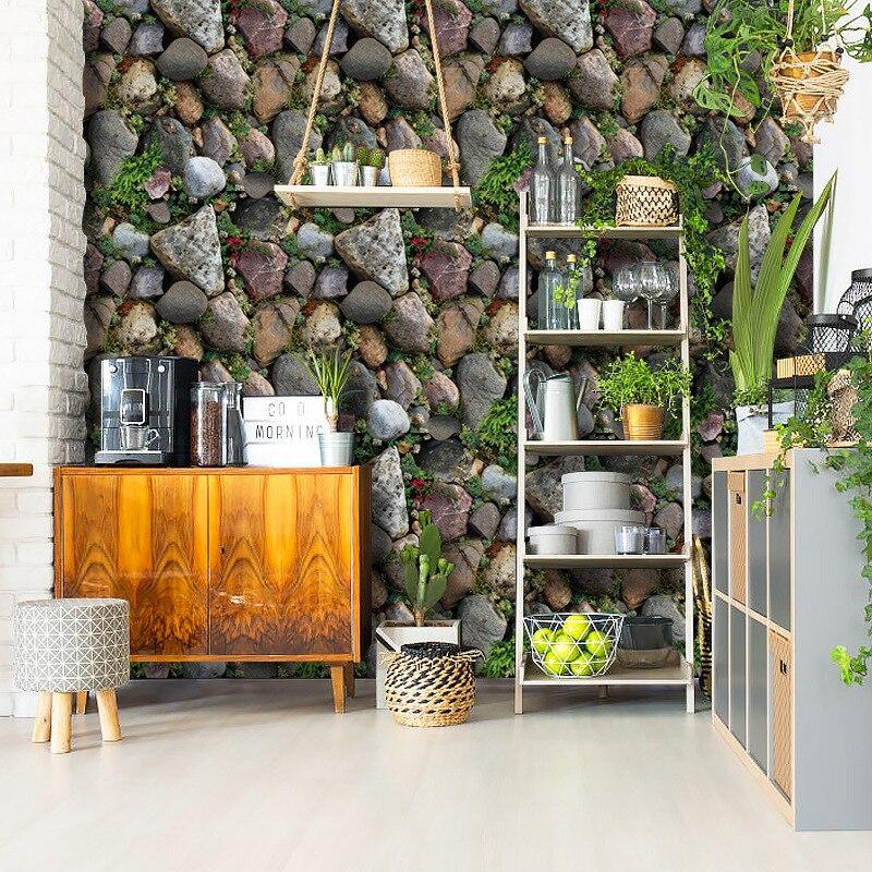 3D Stone Brick Wallpaper Roll Living Room Bedroom Restaurant Background Loft Removable PVC Wall Sticker Wall Paper