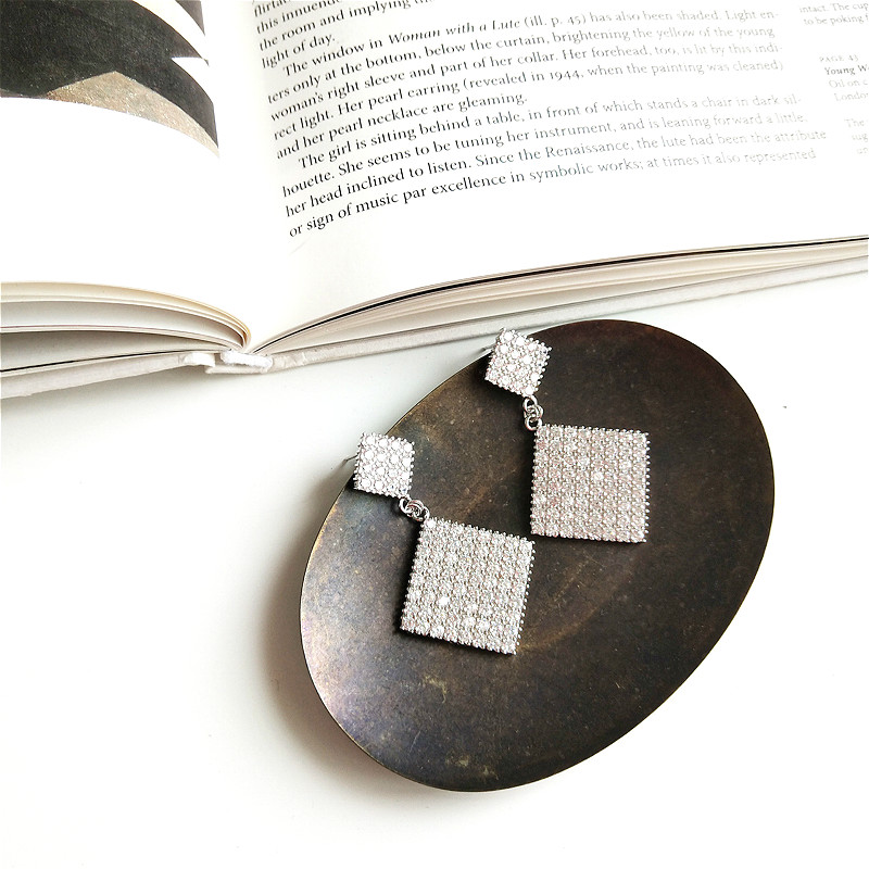 100 Real Silver 925 Dangle Earings Fashion Jewelry Cubic Zirconia Earrings For Women Drop Big Statement Earrings Luxury in Drop Earrings from Jewelry Accessories