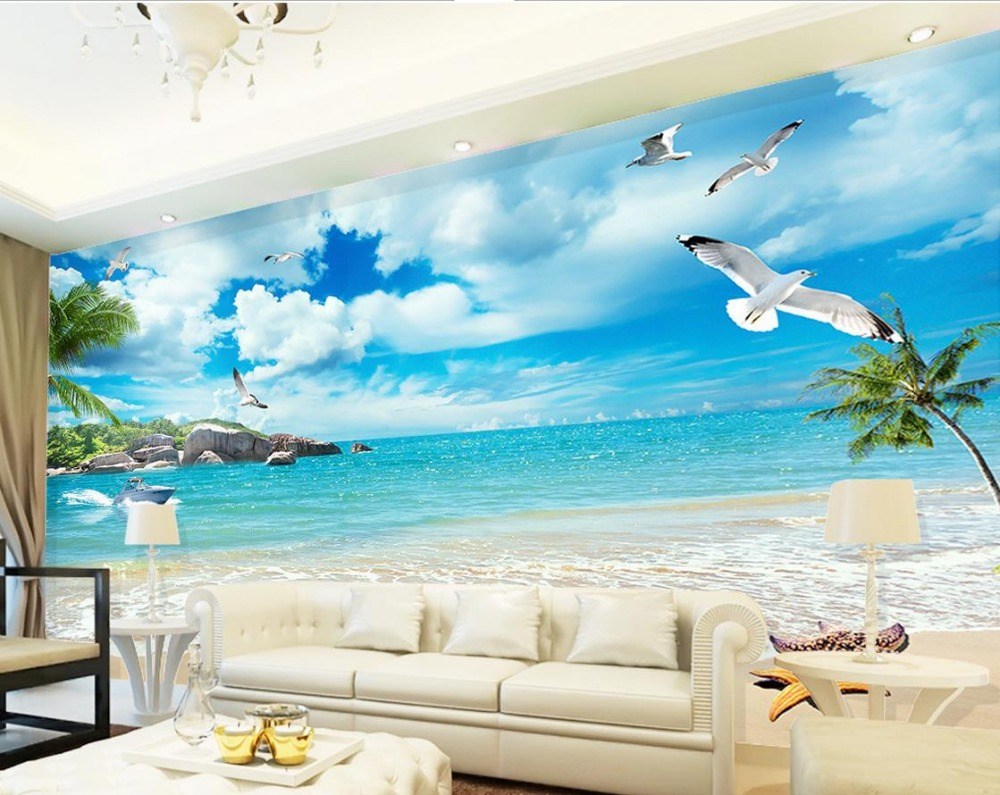 Online get cheap beach wallpaper murals for Cheap wall mural wallpaper