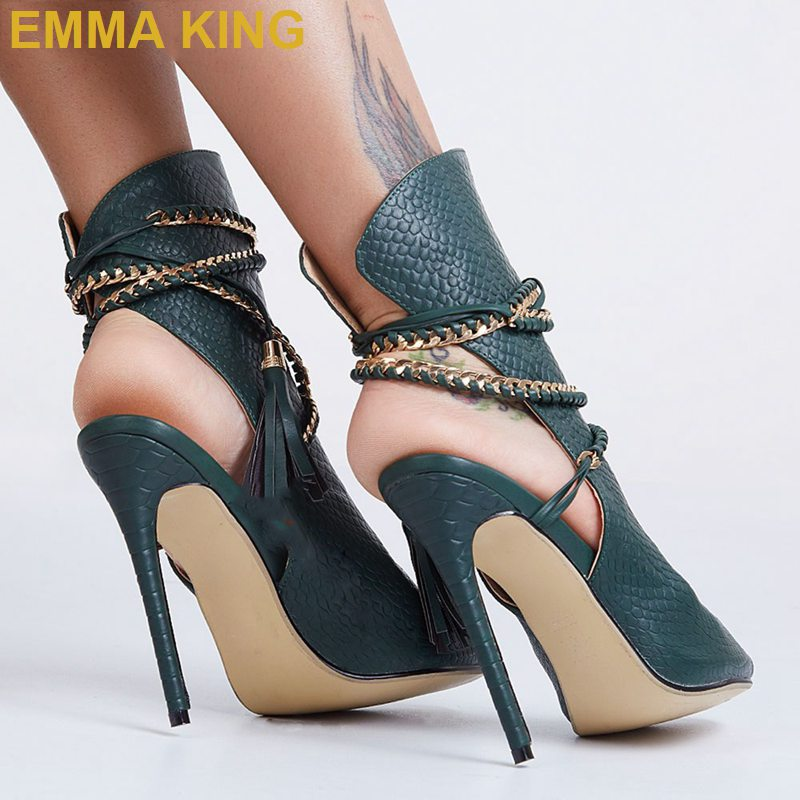 Sandalias de verano de piel de serpiente Sexy botas de tobillo Cadena de borla zapatos de tacón alto de mujer de diseñador de moda señoras sandalias de cuerda tamaño grande 11 - 2