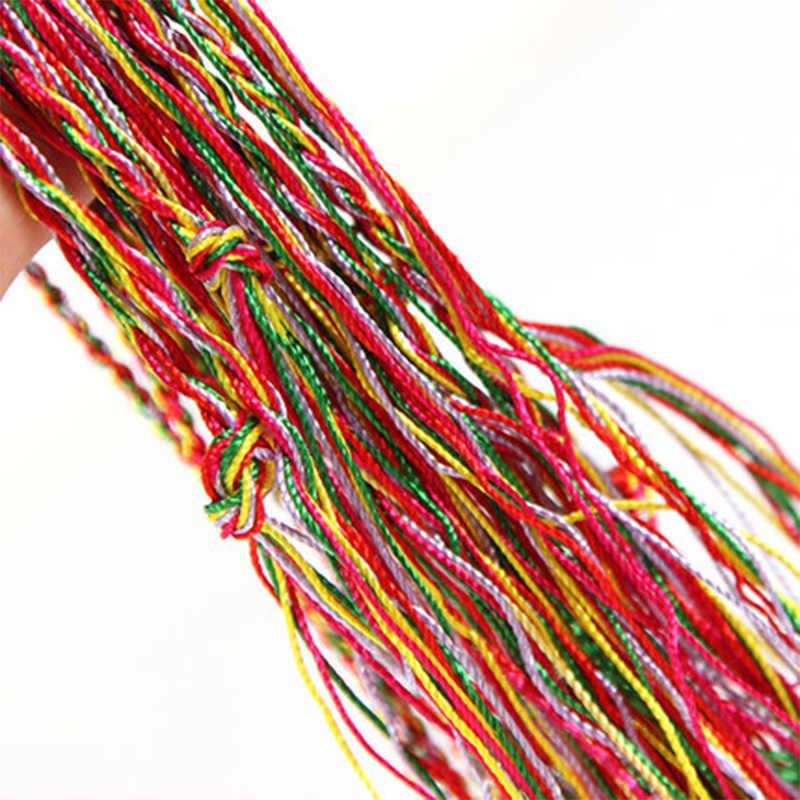 Nowy losowy kolor etniczny kolorowy długi kutas kobiety Lady dziewczyna DIY splot bransoletki z rzemykami wielobarwny urok bransoletka