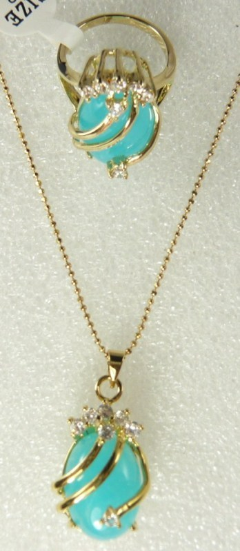 fine 18KGP light blue jade CZ pendant ring #6,7,8,9 set