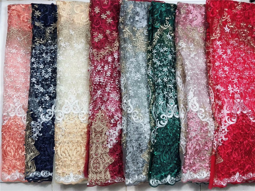 New French 3d Lace Fabric Dark Green African Net Fabric With Beads Nigeria Tulle Mesh Wedding