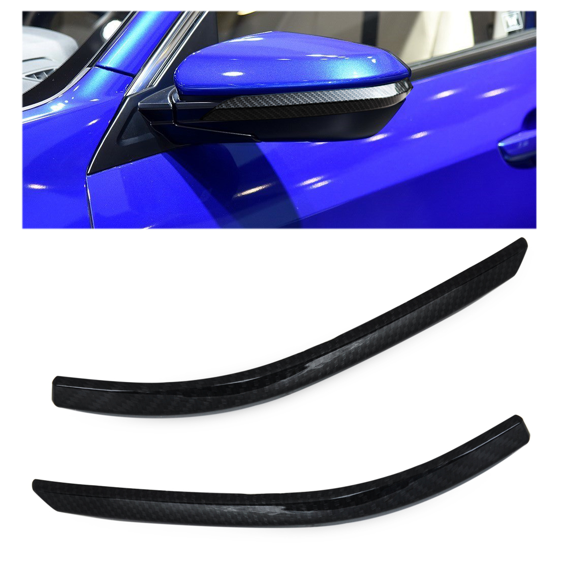 beler 2x New Black ABS Plastic Carbon Fiber Texture Rearview Side Mirror Strip Cover Trim For Honda Civic 2016 2017 Car Styling