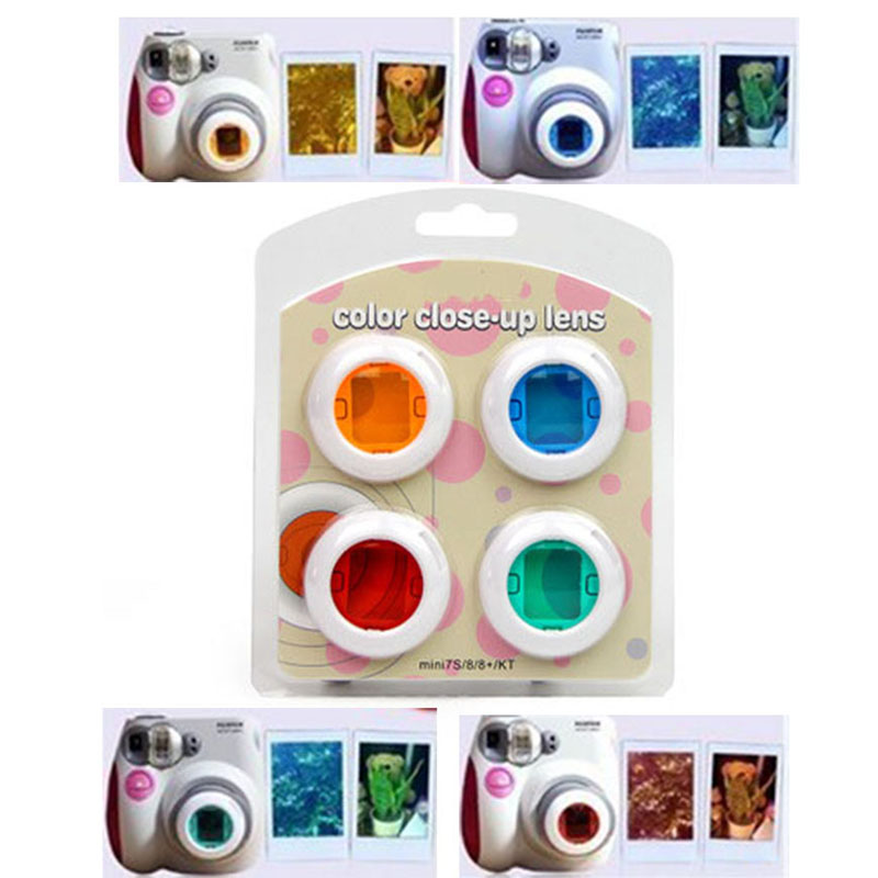 4pcs /5/6 pcs Colorful Camcorder Close-up Colored Lens Filter for Polaroid Fujifilm Instax Mini 9 8 8 7S KT Instant Film Cameras 1