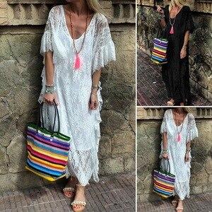 Uguest レース夏ドレス V ネックフレアスリーブ大サイズの女性の服白黒ロングドレス S-5XL エレガントなパーティードレス
