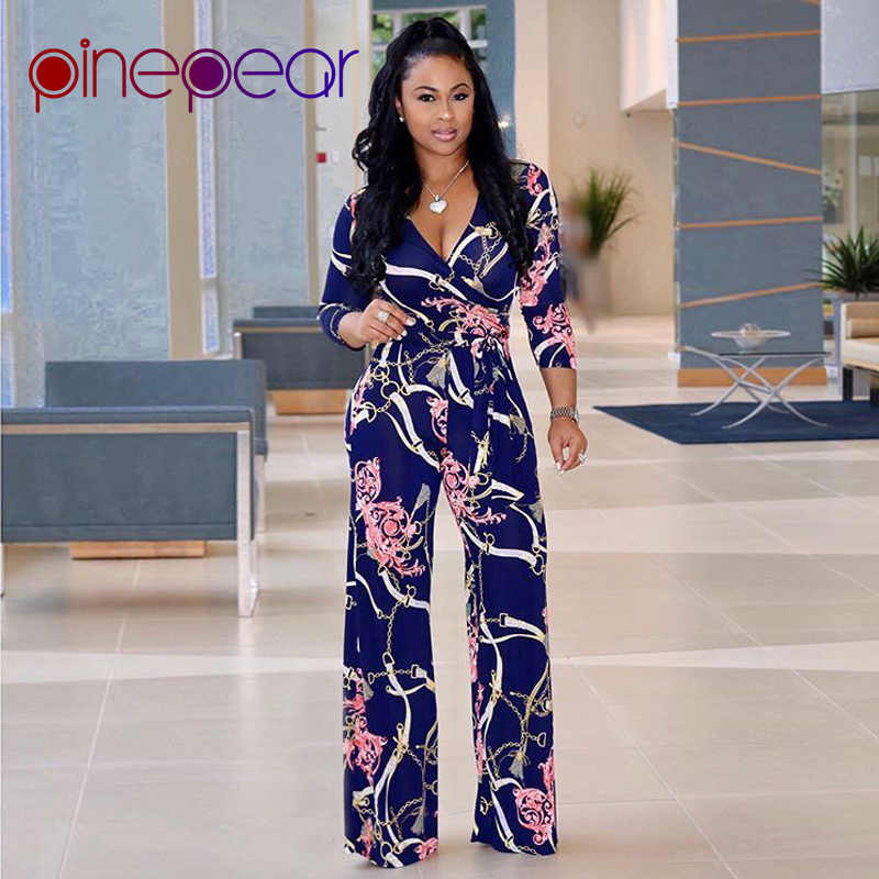 34337640214 PinePear Plus Size S-XL Maxi Overalls 2019 Winter Women Flower Chain Print  Loose Pants